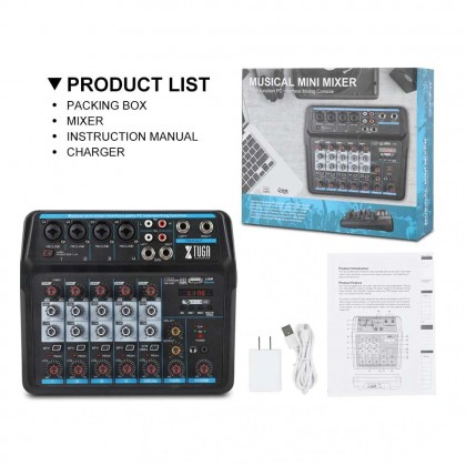 XTUGA AM6 6 Channel Mini Audio Mixer DJ Console with Sound Card,Bluetooth,USB, 48V Phantom Power for PC Recording Singing Party