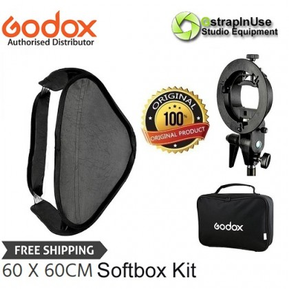 GODOX 60 X 60CM EASY FOLD SPEEDLITE SOFTBOX WITH S TYPE BRACKET