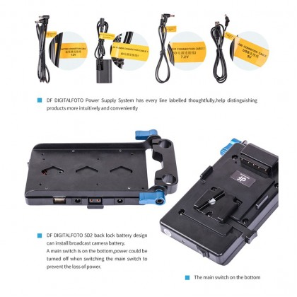 DIGITALFOTO V-MOUNT BATTERY PLATE VFU1 WITH MULTIPLE POWER OUTPUT