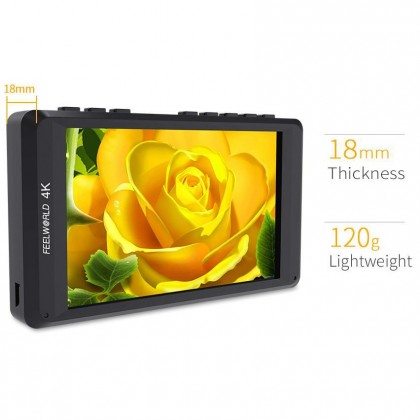 """FEELWORLD FW450 4.5"""" 4K ON-CAMERA MONITOR WITH HDMI INPUT/ OUTPUT IPS HD1280X800"""