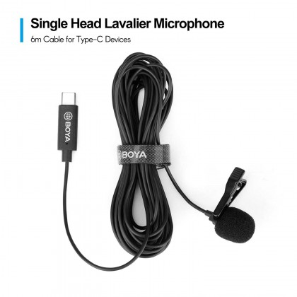 BOYA BY-M3 Omnidirectional Single Head Lavalier Lapel Microphone Mic with 6 Meters Cable Compatible with USB Type-C Interface