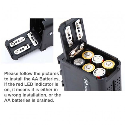 Dummy Battery BB6 NP-F970 Adapter Box Case Powered with 6 AA Batteries