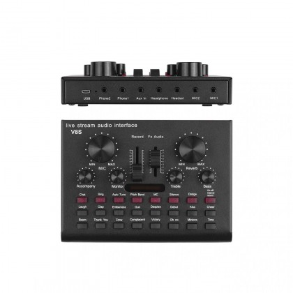 V8S Multifunctional Live Streaming Sound Card USB Audio Interface Mixer Voice Device DJ Karaoke Equipment for Recording Hosting