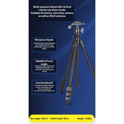Beike QZSD Q202F Vertical Column Top Down Mode Compact Tripod for Phone & Camera