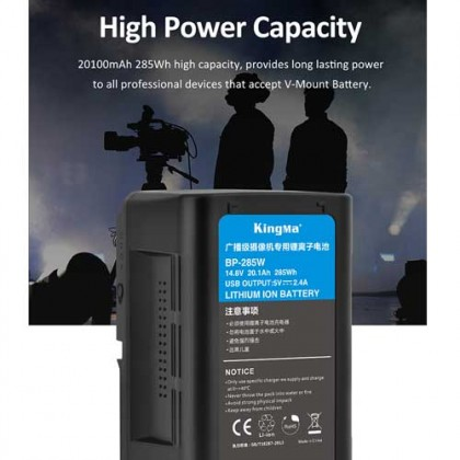 KingMa BP-285W 20100mAh 285Wh High Capacity V-Lock Battery V Mount Battery for Broadcast Video Camcorders and LED Lights