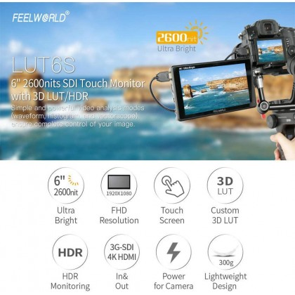 FEELWORLD LUT6S 6 Inch Touch Screen Camera Field Monitor HDR 3D LUT 2600nits for DSLR Camera with Waveform VectorScope