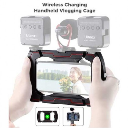 Ulanzi U-Rig Wireless Handheld Gimbal Stabilizer Wireless Charging Vlogging Cage Smartphone Video Rig with 3 Cold Shoe Extension Port