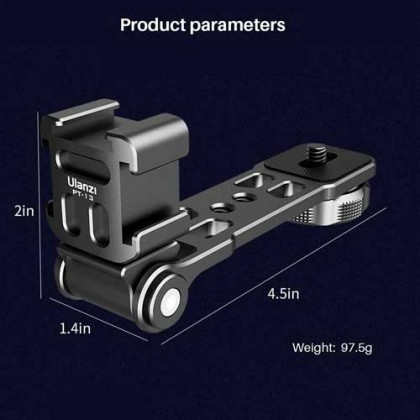 Ulanzi PT-13 PT-3P Tripod Cold Shoe Bracket Vlog Extend Accessories Aluminum Alloy for Mounting LED Video Light Microphone