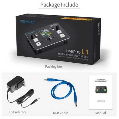 FEELWORLD LIVEPRO L1 Video Mixer/Switcher Multi-format 4 x HDMI inputs multi camera production real time live streaming